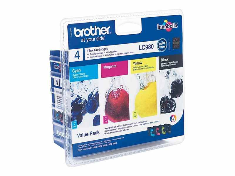 PACK 4 COLORES BROTHER LC980