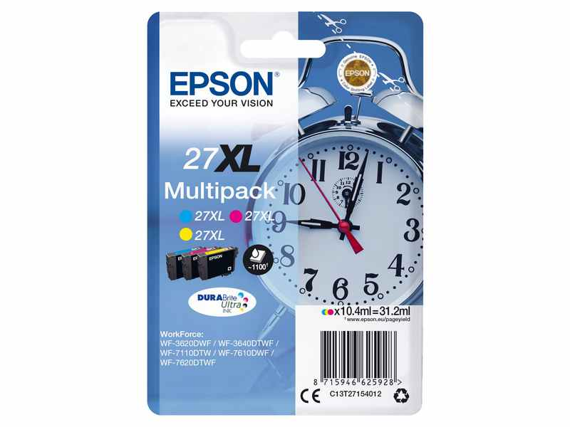 PACK 3 COLORES 27XL EPSON WF
