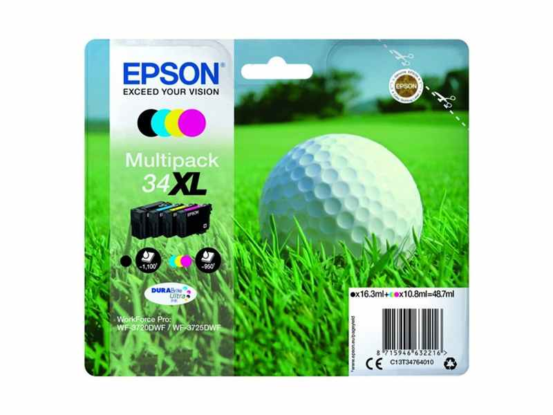 PACK4 COLORS 34XL EPSON WF3725