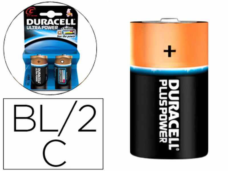 2 PILES ALCALINES DURACELL ULTRA POWER C